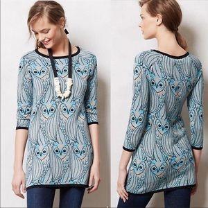 Anthro Monogram Nestle Owl Tunic Sweater D